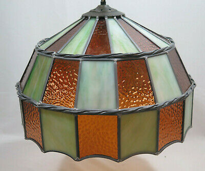 Antique Tiffany Style Stained Glass Hanging Lamp