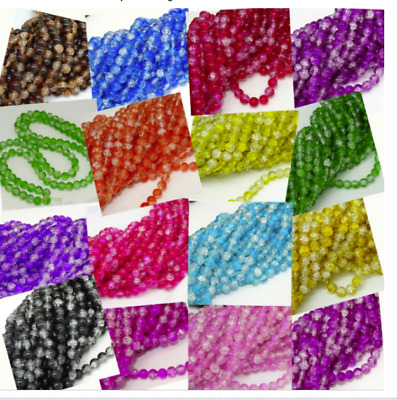 wholesale 150pcs 4mm glass Crackle Cracked Round Beads Two Tone  Crack Beads
