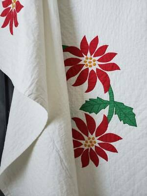 """Vintage Poinsettia Applique QUILT Red Green & White 86x77"""" Christmas Decorating"""