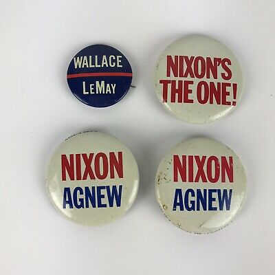 3 Richard NIXON AGNEW & 1 Wallace LeMay for President Campaign Button Pins 1968