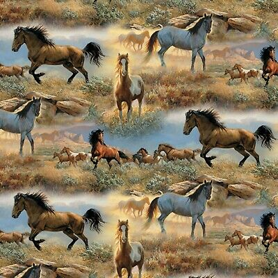 Fabric Horses in the Prairies Cotton By The 1/4 Yard