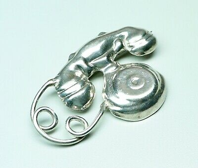 Vintage Sterling Silver Old Style Telephone Brooch Mexico 19 Grams