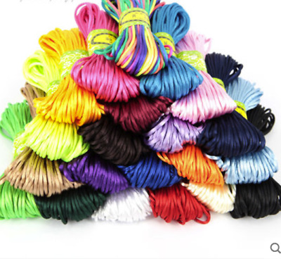 2-3mm Chinese Knot Satin Nylon Braided Cord Macrame Beading Rattail Wire Cords