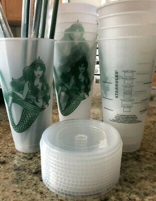 10 Starbucks Mermaid Siren Frosted Reusable Cold Cup without Original Logo 2019