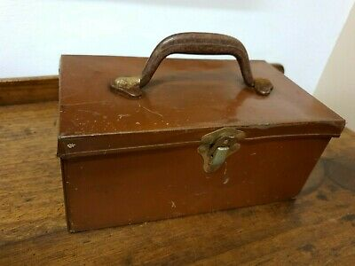 vintage brown tin LUNCH BOX