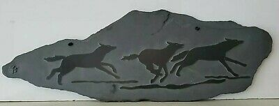 """Hand Carved Black Slate Stone Wolves 14"""" x 9"""" Art Wall Hanging Orig Sticker EUC!"""