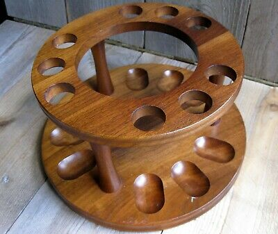 Vintage Mid Century Modern Wood 9 Pipe Stand Rack Atomic Abstract Round Decatur