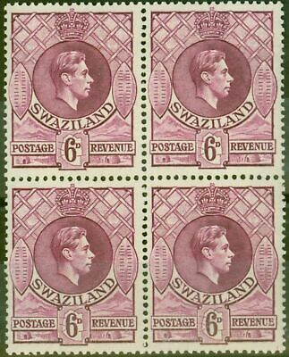 Swaziland 1944 6d Reddish Purple SG34b V.F MNH Block of 4