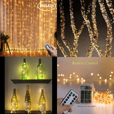 Battery USB Remote LED Copper Wire Fairy Lights String Curtain Bottle Cork Light