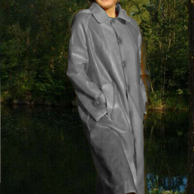 2019 100% Latex Rubber Ganzanzug Windbreaker Gummi Long Coat Button Size S-XXL
