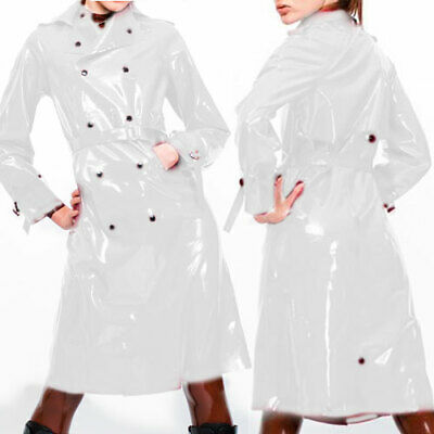 100% Latex Rubber Mantel White Ganzanzug Windbreaker Gummi White Long Coat S-XXL