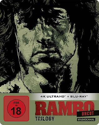 Rambo Trilogy Limited Edition Uncut Steelbook (4K Ultra HD +Blu-ray) - Neu!