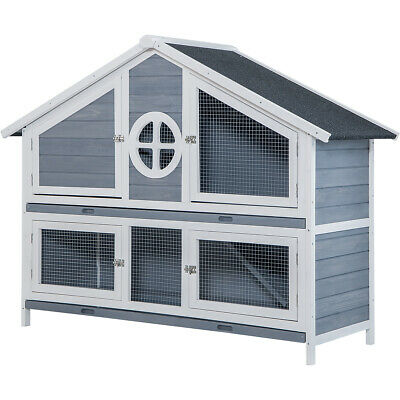 Pet Rabbit Hutch Weather-proof Wooden House Small Animals Poultry Cage US Seller
