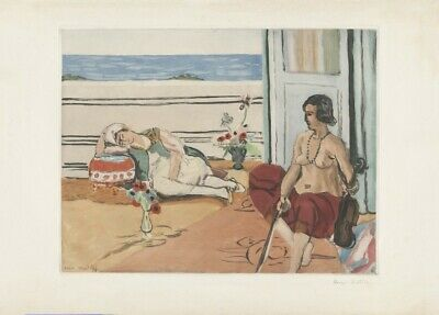 Odalisque on a Terrace, 1922, HENRI MATISSE, Expressionism, Fauvism Art Poster