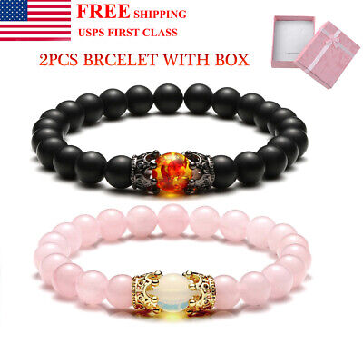 King Queen Crown Distance Couple Bracelets His and Her Friendship Bracelet Set