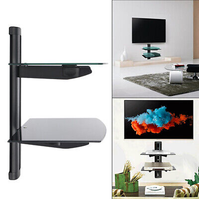 2 Wall Mount Shelf Floatings Black Glass Bracket For Xbox PS4 Sky TV DVD Shelves