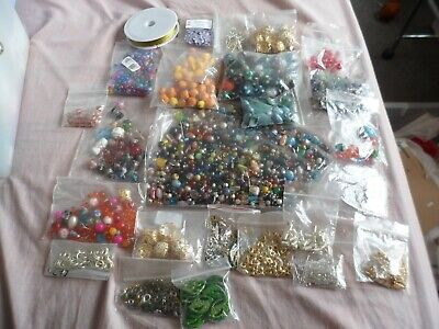 huge job lot of heavy  jewellery beads, crafts all sorts findings .pins ect
