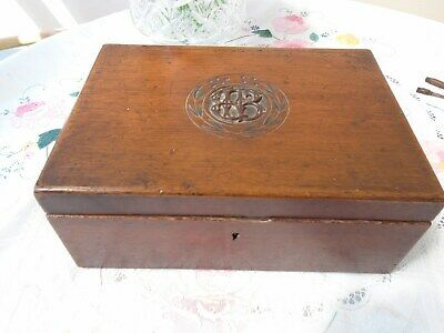Large Antique Victorian Wooden Mahogany Sewing Jewellery Box Carved Monogram