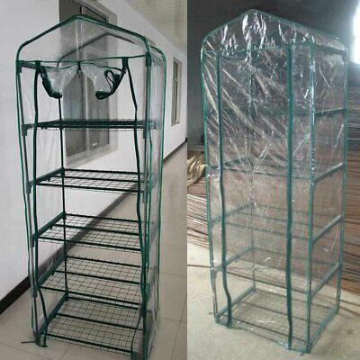 5 Tier Mini Greenhouse Walk In Grow Bag Green House PVC Cover Plastic Garden UK