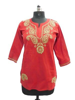 INDIAN COTTON DESIGNER Chicken embroidered Top Women Sleevles WOMEN