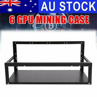 AU 6 GPU Open Air Mining Frame Miner Rig Case BTC ETH Ethereum Bitcoin Stackable