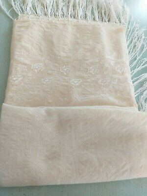 Pretty  Cream  Vintage  Silk  Mixture Shawl With Silk  Fringe  & Embroidery