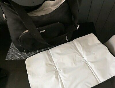 Mamas & Papas Black Baby Changing Bag Fold Changing Mat, Insulted Bottle Holder