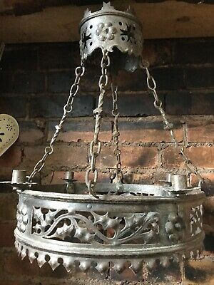 Antique Medieval Hand Forged 2 Tier Candle Chandelier