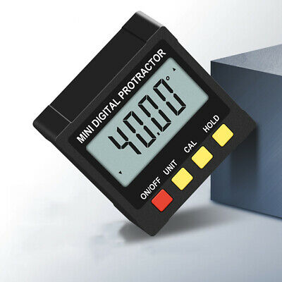 UK Electronic Digital LCD ABS 4 Side Magnetic Inclinometer Angle Finer 4*90°