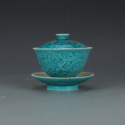 China antique Porcelain Ming chenghua Malachite green carved dragon lid cup