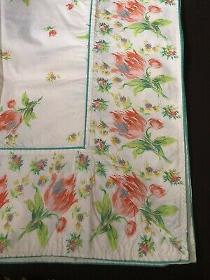 """April Cornell NEW Peach Tulip Tablecloth 96"""" x 60"""" Table for 6-8"""