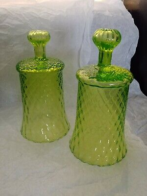 Rare GREEN OPTIC Antique Glass Heirloom CLOCHES Hand-Blown BELLS Pontils ITALY