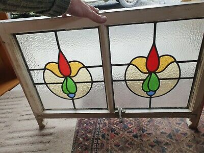 "Art Deco British Leaded Light Stained Glass Window Panel 13 7/8"" x 16 3/8"" (1)"