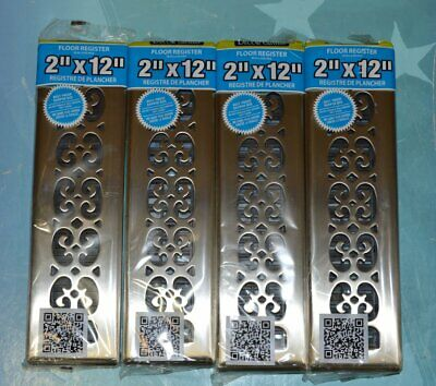 "Lot of 4 Decor Grates SPH212-NKL 2"" x 12"" Scroll Nickel Floor Register"