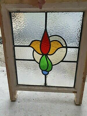 "Art Deco British Leaded Light Stained Glass Window Panel 13 7/8"" x 16 3/8"" (7)"