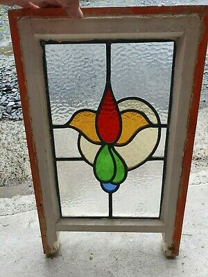 "Art Deco British Leaded Light Stained Glass Window Panel 10.25"" x 16 3/8"" (9??)"