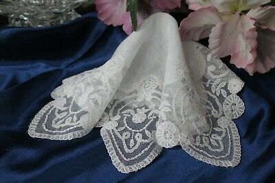 Vtg Antique Belgian Princess Lace Wedding Bridal White Handkerchief Heirloom