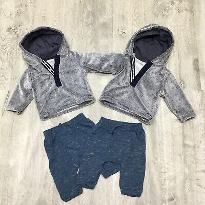 Twin Baby Boys Hooded Fleece & Joggers, 3-6 Months