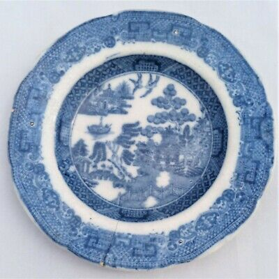 Antique Pearlware Child's Tea Set Plate Blue and White Willow Patt c 1830 4.5 in