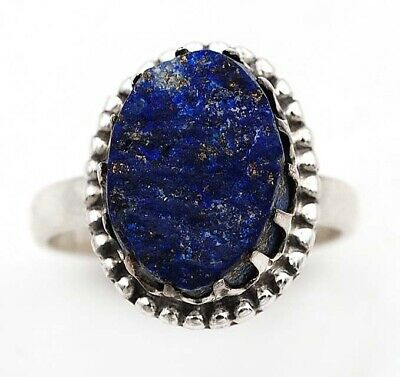 Rough Gem Art Gold in Lapis Lazuli 925 Sterling Silver Ring Jewelry Sz 7.5 C15-1