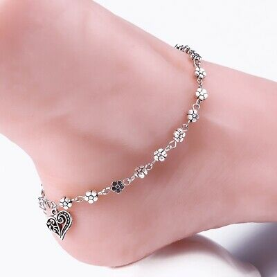Tibetan Silver Daisy Heart Anklet Ankle Bracelet Beach Foot Jewellery Fashion