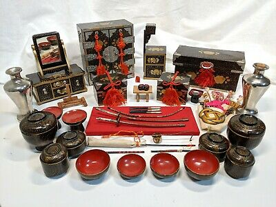 Vintage Japanese Lacquer Hina Doll Furniture Lot Dollhouse Dresser Chest Bowls
