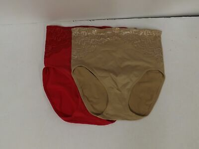 """Rhonda Shear """"Ahh"""" Seamless Brief 2-pack with Lace Overlay-Red/Nude-Large-586848"""