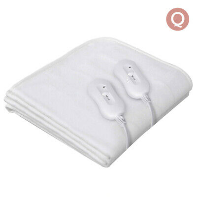 Heated Electric Blanket Fully Fitted Polyester Underlay Warm Bed Queen Size @TOP