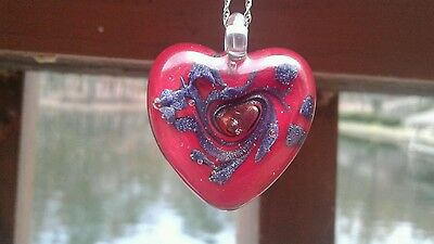 Authentic Italian Murano Glass RED Heart Pendant from Italy Hand Blown NEW
