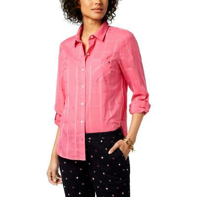 Tommy Hilfiger Womens Heritage Pink Cotton Button-Down Top Shirt L BHFO 1052
