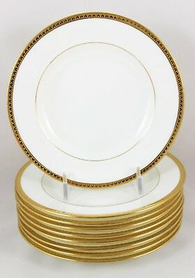 Fab Hearts! Set 9 Raised Gold Encrusted Bread Plates Vintage Minton China H1954