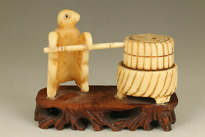 rare chinese unique old deer hor hand carved turtle mill-turning statue netsuke