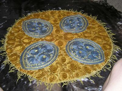 """Antique Lotus Round Intricate Hand Embroidered Tapestry Runner Tablecloth 36"""""""