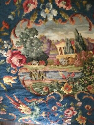 Amazing Scenic woolen EMBROIDERY ! For Framing or Foot Stool Handmade